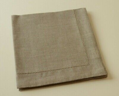 """SET of 4 Natural LINEN Taupe Dinner Napkins With Hemstitch 18.5"""" x 18.5"""""""