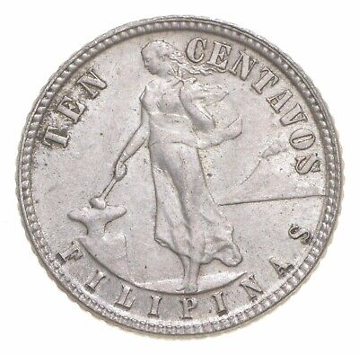Roughly the Size of a Dime 1945 Philippines 10 Centavos World Silver Coin *697