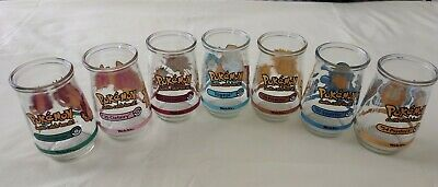 7 Vintage Nintendo Pokemon Collectible Welch's Jelly Glass Jars Set of 7