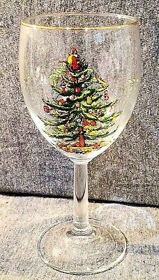 """Spode Christmas Tree Wine Glasses, 13 oz,  7-1/8"""" Tall,  Gold Rim (11 available)"""