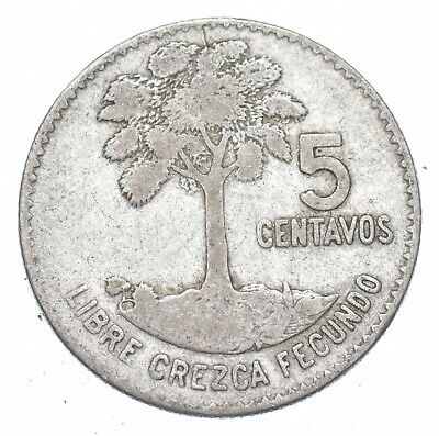 Roughly the Size of a Dime 1960 Guatemala 5 Centavos World Silver Coin *210
