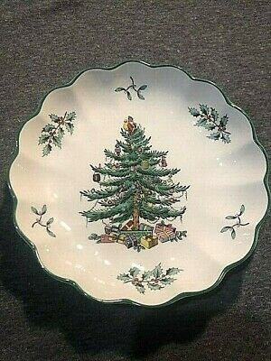 Spode Christmas Tree Round Fluted Dish, Small, S3324, England