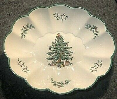 Spode Christmas Tree Oval Fluted Dish, Large, S3324, England
