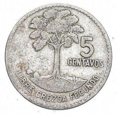 Roughly the Size of a Dime 1961 Guatemala 5 Centavos World Silver Coin *233