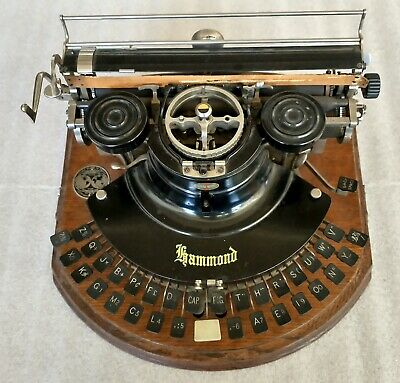 Original Hammond Multiplex Typewriter with curved case non-QWERTY w/repo manual