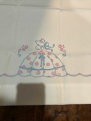 Vintage Pair Embroidered Southern Lady Pillowcases