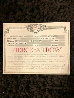 "Vintage Pierce Arrow society display placard for car shows "" LOOK but DONT TOUCH"