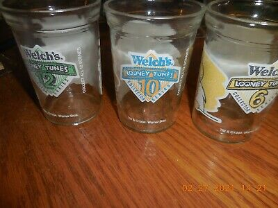 3-Welch's Jelly 1994 Looney Tunes Series  # 6, 10, & 12 Glass Tumbler