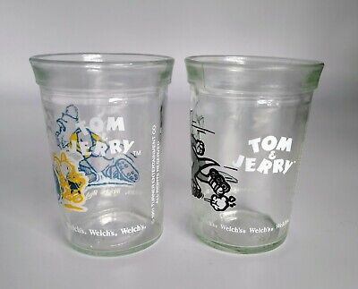 Two Vintage Welch's Jelly Tom & Jerry Jars Juice Glasses Turner Entertainment