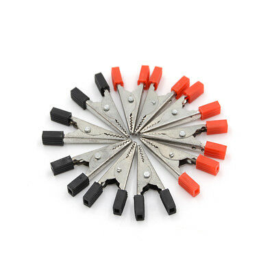 10Pcs Alligator Clips Vehicle Battery Test Lead Clips Probes 32mm Red+Black_IS1