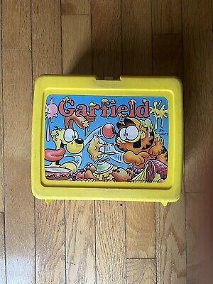 GARFIELD & Odie Food Fight Vtg Thermos Brand Yellow Lunch Box