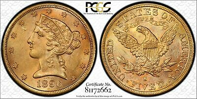 1896-S $5 Dollar Gold Half Eagle. PCGS MS62. Scarce S mint coin. Great color.