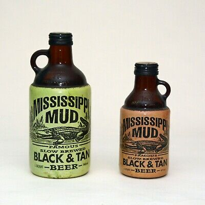 Vintage Mississippi Mud Black and Tan Beer Bottles 1 Quart 1 Pint 1996 Collector