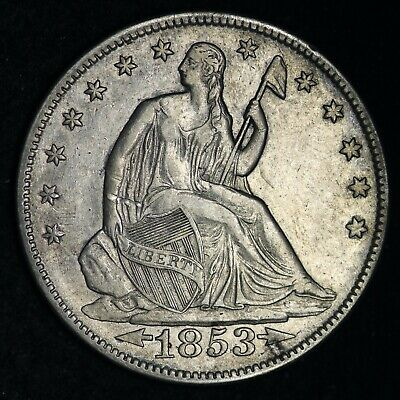 1853 Seated Liberty Silver Half Dollar CHOICE AU FREE SHIPPING E307 GCLM