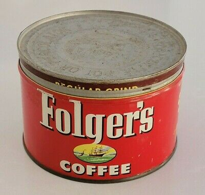 Vintage 1952 Folger's Coffee Tin Can Regular Grind with Lid
