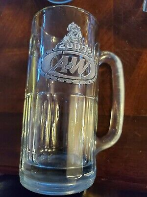 "A & W A&W Root Beer Mug 2000 Millennium Collectible Glass Brown Bear  7"" Tall"