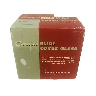 Compco Slide Cover Glass NO. 381 (thin) 30 sheets, 2 3/4 x 2 3/4 inches Vintage