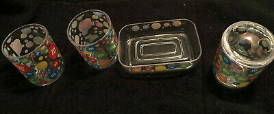 lot of 2 bathroom tumblers and soap, toothbrush holder and shower curtain hooks