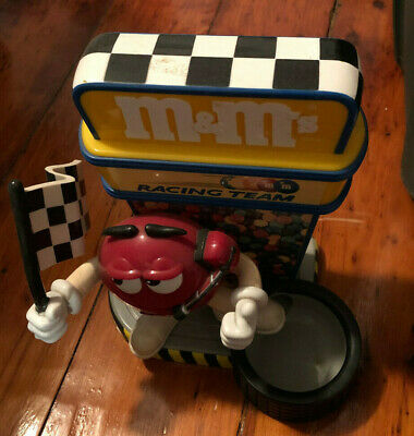 M & M Racing Team Candy Dispenser race Flag Man Red Giving Thumbs Up pit crew