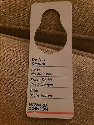 Vintage HOWARD JOHNSON'S MOTOR LODGE   Maid/ Do Not Disturb Door Hanger