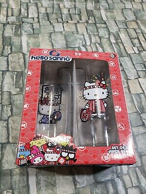 SANRIO Hello Kitty **TWO** 15 oz Juice Glasses, rare