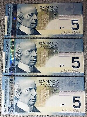 2006 Canadian $5 - 3 Consecutive Notes UNC - APU2477867, 68, 69 - HEAVY Last #'s