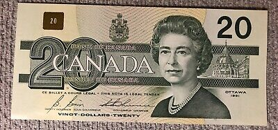 1991 Canadian $20 Bank Of Canada Note. Great Serial Number AVI8883333 - UNC