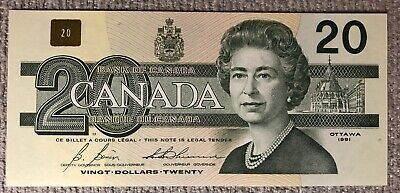 1991 Canadian $20 Bank Of Canada Note. Great Serial Number AVW4888888 - UNC