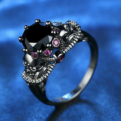 Details about  /Two Tone Secret Compartment Poison box Skull Silver Ring hot Biker Rider X8X5