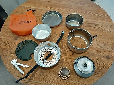 camping  Alcohol stove trangia Wind breaker  mugs brew  mess kits fuel carry bag