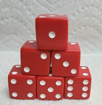 """25mm *OP White* w//Red Hearts for Pips *One BIG Pair* /""""Gotta Have Heart/"""" Dice"""