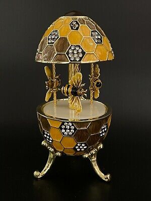 Gold Easter Egg Bee Carousel  by Keren Kopal music box with crystal