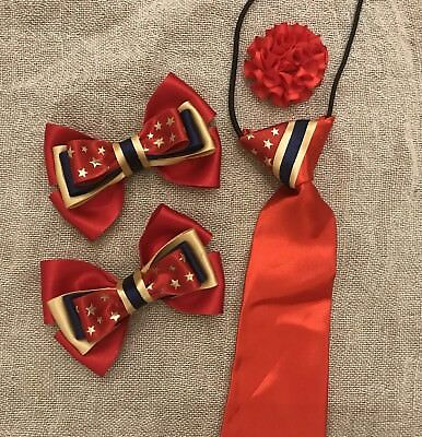Lead Rein show tie and bows Red GOLD  Cream childs equestrian showing set