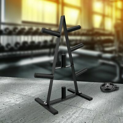 Standart weight tree barbell disc holder storage plate rack stand gym 7 holders
