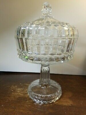 Clear Glass Candy Nut Compote Dish, Clear Glass Pedestal Candy Dish With Lid
