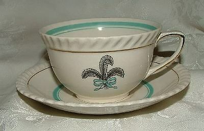 Johnson Brothers PRINCE OF WALES Feathers Plume Fleur de Lis 2 Cups & 2 Saucers