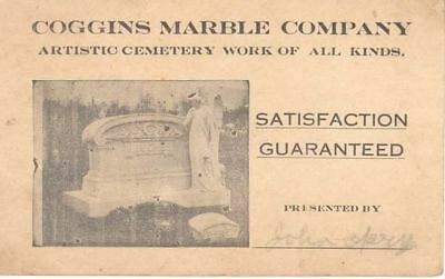 C 1915 Adv Trade Card Coggins Marble Cemetery Tombstone