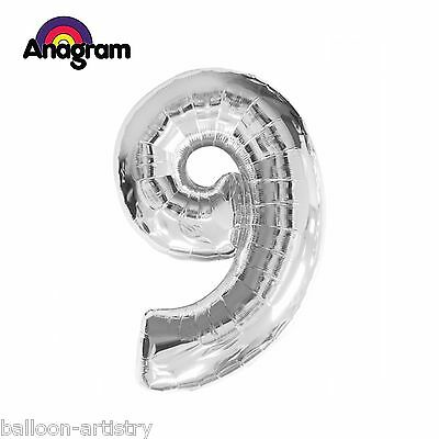 "Anagram Large 34"" (86cm) Supershape Silver Foil Number 9 Balloon - 9th Birthday"