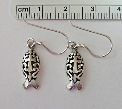 Sterling Silver 16x6mm Christian Fish with Cross 14mm Wire Earrings
