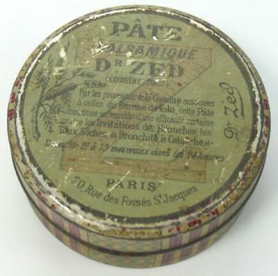 Antique Tin Box Dr Zed Medical Cream Pate Balsamique