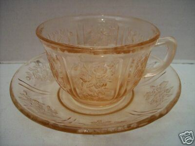 "Federal Glass Co. ""Sharon/Cabbage Rose"" Cup & Saucer"