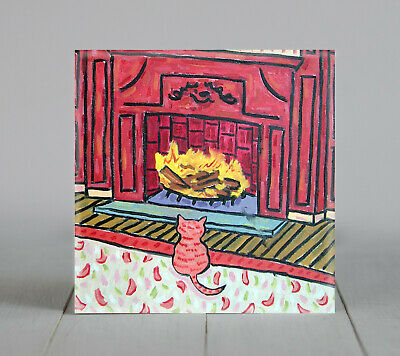 tabby cat by the fireplace ceramic ANIMAL tile coaster