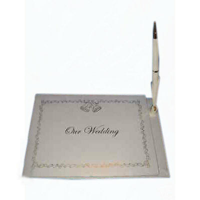 """White Wedding Guest Book Register 6"""" x 9"""" with pen"""