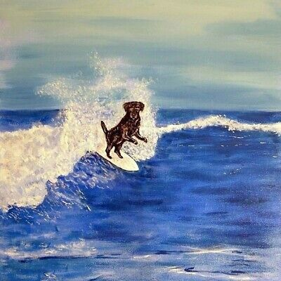 LABRADOR RETRIEVER SURFING animal dog art tile coaster