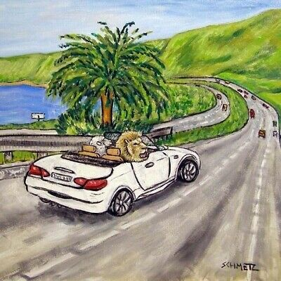 lion and lamb driving in a car animal art tile coaster