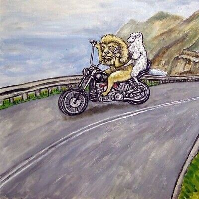 lion and lamb on A motorcycle animal art tile coaster