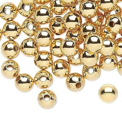 100 Gold Plated Brass Smooth 4mm Round Metal Beads
