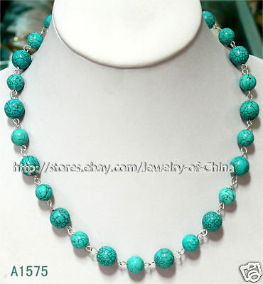 "Superb 19"" 10mm 12mm blue turquoise necklace A1575"