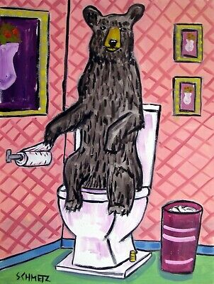 Brown Bear Bathroom picture  animal Art print  8x10
