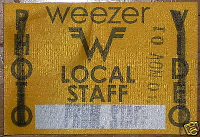Weezer BACKSTAGE PASS TOUR sticker 2001 vip